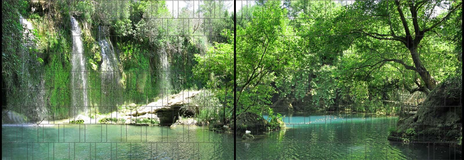 Grotte Panorama XL bedruckte Sichtschutzstreifen für Doppelstabmattenzaun