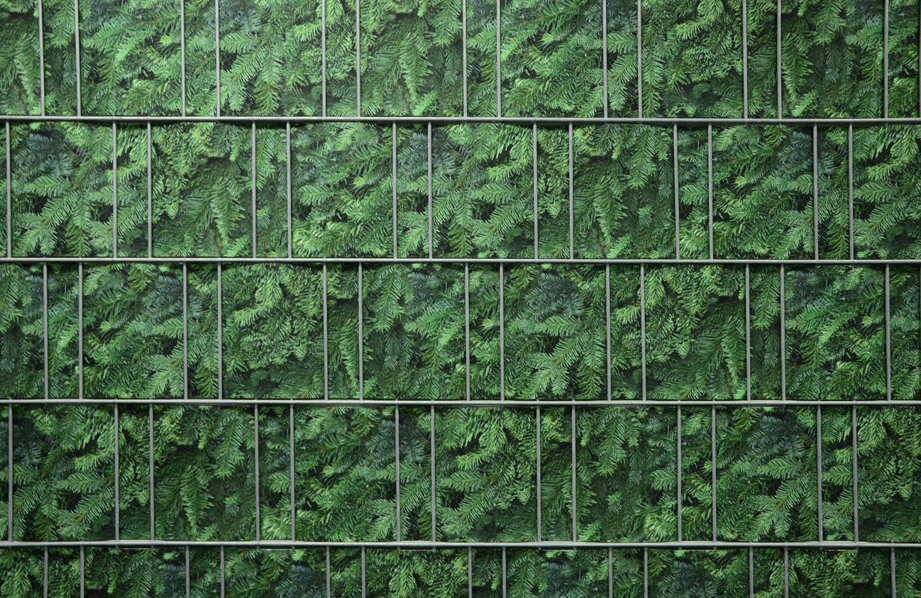 Doppelstabmattenzaun Sichtschutz Mit Pflanzen Naturmuster